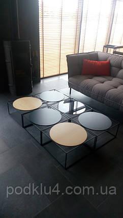 Журнальный столик из металла со стеклом, фото 2