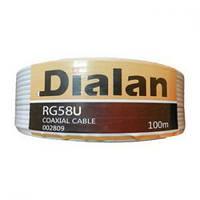 Dialan RG58U , сечение 0,80 мм., 100м  ( цветной экран ), 50 Ом.