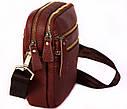 Кожаная сумка красного цвета для мужчин 30109, фото 6