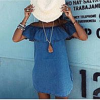 Платье женское короткое джинсовое с воланом P3123