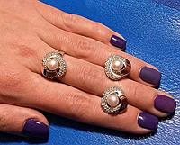 Комплект украшений серебро с золотом с жемчугом