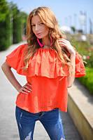 Блуза с оборкой на резинке вышивка