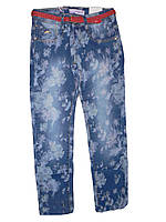 Летние подростковые джинсы для девочек в цветочек  голубые 134-164р. В остатке 158,164р.