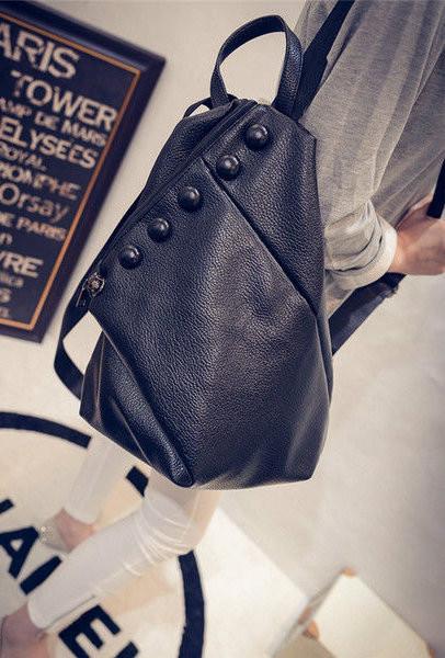 Женский рюкзак пуговки из кожзама