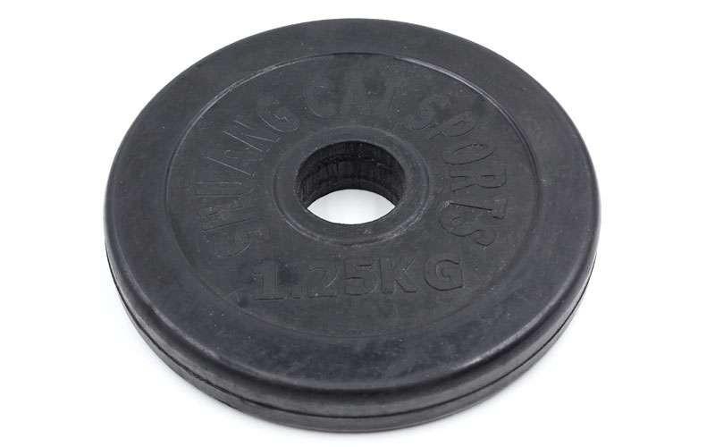 Блины черные обрезиненные 1,25кг (диам. 30мм) ТА-1441