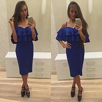 Женское красивое модное стильное платье с воланом в расцветках, фото 1