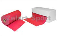 Лента для пилатеса в рулоне(эласт.лента) (р-р 5,5м*15см*0,45мм) FI-3944-5,5(силикон, малиновый)