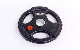 Блины (диски) обрезиненные с хватом с метал.втулкой отв. d-51мм Z-HIT 5кг, фото 2