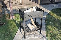 """Мангал """"Старая крепость"""" комплектация-4 с крышкой, подставкой и чугунным 8л казаном WOK"""