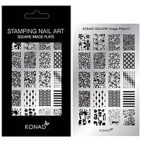 Мини пластина для стемпинга Конад  square image plate 01