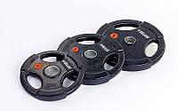Блины (диски) обрезиненные с хватом с метал.втулкой отв. d-51мм Z-HIT 20кг (черный)