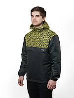 Ветровка мужская весенняя, анорак UP Scratch черный легкий с капюшоном (демисезонная куртка осень-весна)