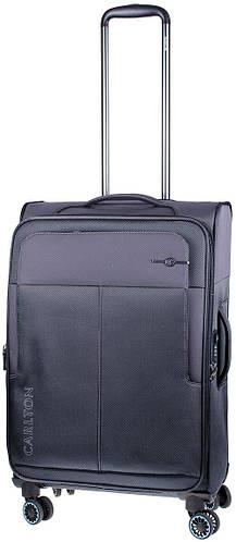 Практичный черный чемодан из ткани на 4-х колесах CARLTON 099J455;87, 45 л.
