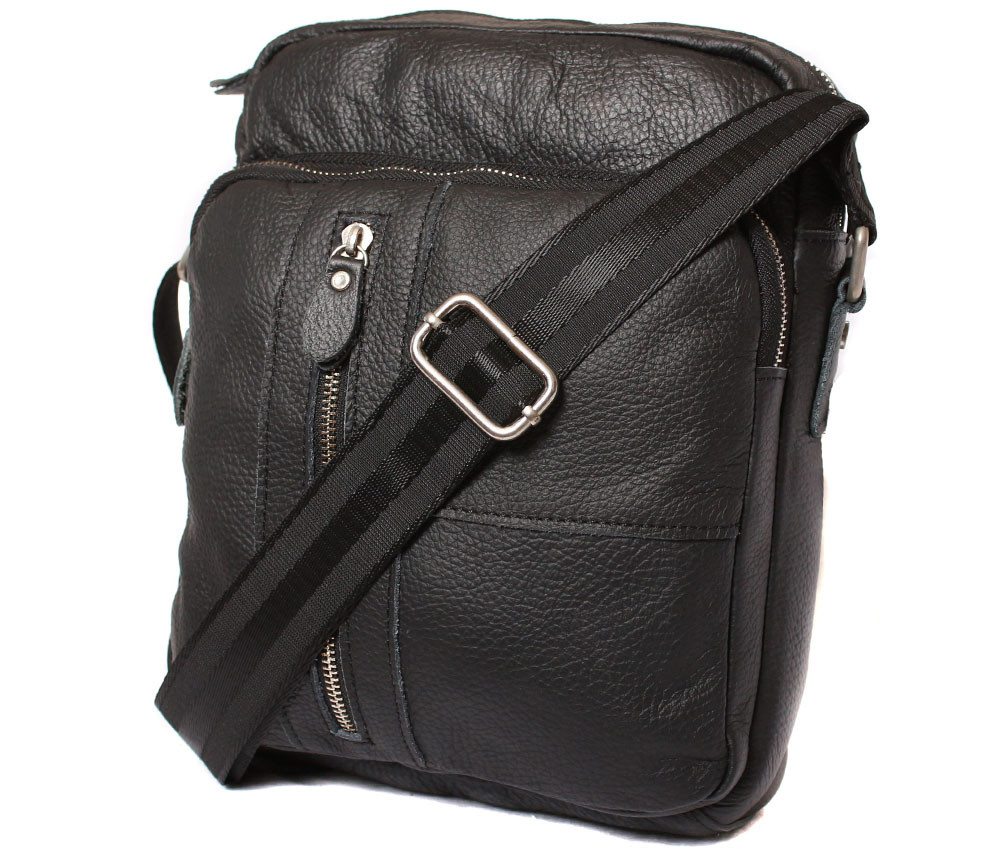 Мужская кожаная сумка 300123 черная