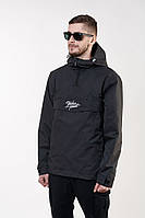 Ветровка мужская весенняя, анорак BW черный легкий с капюшоном (демисезонная куртка осень-весна)