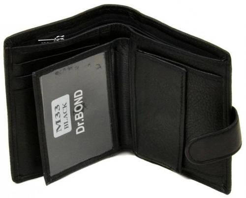 Элегантное мужское портмоне из натуральной кожи dr.Bond M33 black, черный