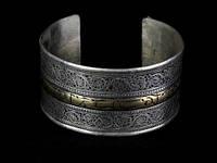 Браслет на руку широкий Узоры тибетское серебро