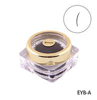 Черные ресницы в банке VIP (Ø 0,20 mm, длина 8 mm) Lady Victory  LDV EYB-A/0-3