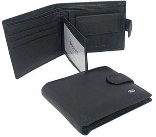 Компактное мужское портмоне из натуральной кожи dr.Bond M3 black, черный