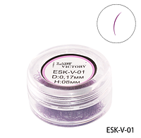 Фиолетовые ресницы для поресничного наращ. в банке (Ø 0,17 mm, длина 8 mm) Lady Victory LDV  ESK-V-01 /93-0