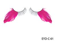 Декоративные подиумные ресницы комбинированные с натуральными перьями Lady Victory LDV EYD-C-01 /0-1