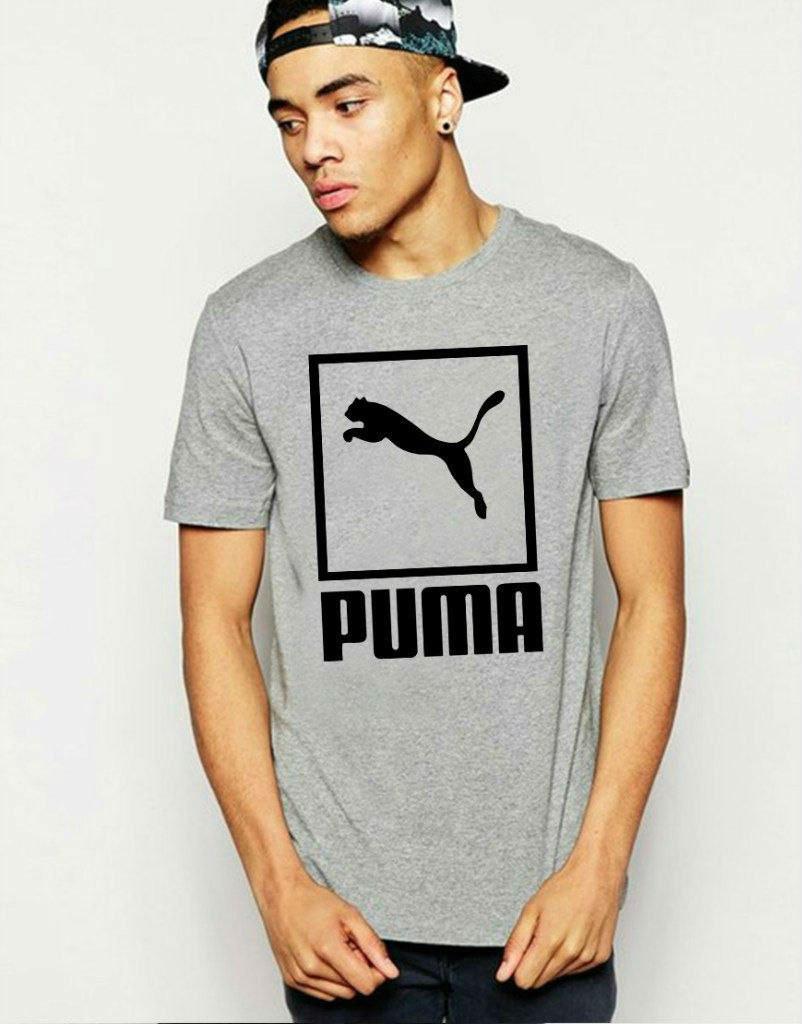 Мужская футболка Puma серая с чёрным