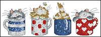 Котята в чашках Набор для вышивки крестом с печатью на ткани 14ст