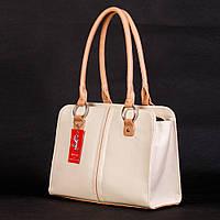 Белая дамская сумка женская бежевые вставки