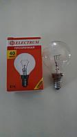 Лампа накаливания Electrum шар 40Вт, E14, прозрачная