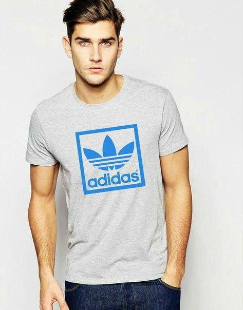 Мужская футболка Adidas синий квадрат