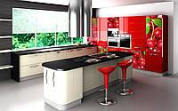 Фасады кухонные Вишни, красная кухня