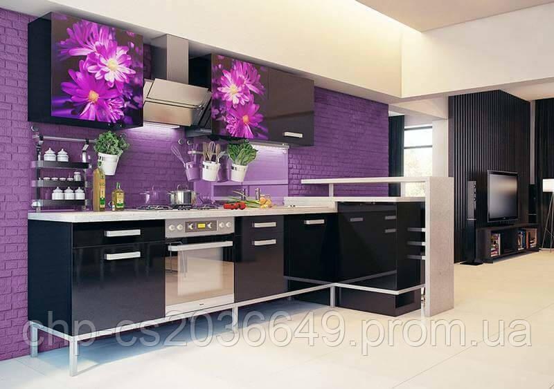 Фасады кухонные Цветы, черная кухня