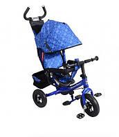 Детский трехколесный велосипед с ручкой Super Trike VT1410 синий (надувные колеса)