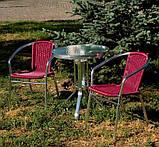 Стол алюминиевый со стеклянной столешницей, фото 3