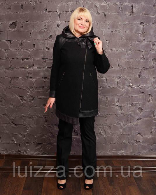 Асимметричное полупальто с кожаными вставками 48-56р черный и твидовый