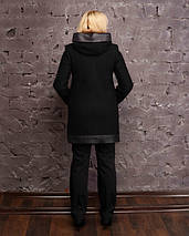 Асимметричное полупальто с кожаными вставками 48-56р черный и твидовый, фото 2