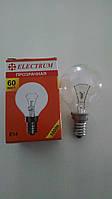 Лампа накаливания Electrum шар 60Вт, E14, прозрачная