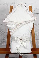 """Конверт-одеяло на выписку """"Улыбка"""" молочный , фото 1"""