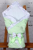"""Конверт-одеяло на выписку """"Улыбка"""" салатовый, фото 1"""