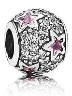 Шарм розовые звезды из серебра 925 пробы пандора (pandora)