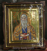 Киот фигурный для иконы Святого Никодима с внутренней деревянной рамкой и золочёными штапиками.