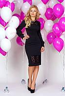 Платье 889 черное нарядное облегающего покроя со вставками из гипюра и пышным рукавом с манжетом