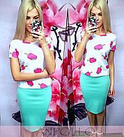 """Женский стильный костюм-двойка """"Мороженки"""":юбка-карандаш футболка с рисунком (отдельно) (2 цвета)"""