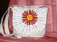 Сумка женская из конопляной ткани «Солнышко», аппликация, ручная вышивка