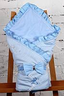 """Конверт-одеяло на выписку """"Улыбка"""" голубой в горошек, фото 1"""