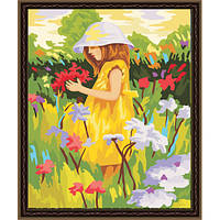 "KHO 022 ""Алиса с цветами"" Роспись по номерам на холсте (без коробки) 40х50см"