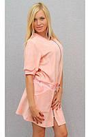 Женское велюровое платье персик