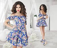 """Элегантное короткое летнее платье 1048 """"Клёш Крылышки Цветы"""" в расцветках"""