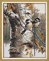 Осенние птицы Набор для вышивки крестом  канва 14ст