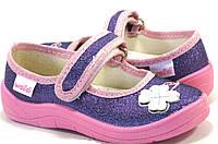 """Детские текстильные тапочки """"Клевер"""" фиолетово-синий для девочки, Waldi, кожаная стелька"""